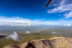 Vista areale del paesaggio di Asia centrale dall'elicottero Immagini Stock