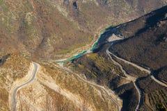 Vista areale fondo naturale delle alpi albanesi, paesaggio Fotografia Stock