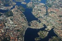 Vista areale sopra Stoccolma, Svezia Fotografie Stock