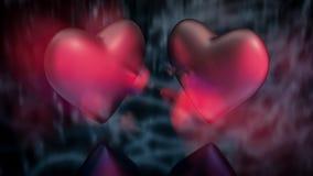 Vista ascendente cercana de dos corazones sobre el reflejo de la superficie borrosa Efecto del fantasma stock de ilustración