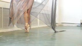 Vista ascendente cercana de la situaci?n elegante de la bailarina en los dedos del pie en pointes almacen de metraje de vídeo