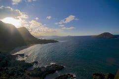 Vista asombrosa playa de u del Makapu ' imagenes de archivo