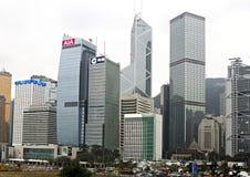 Vista astratta di paesaggio urbano con i grattacieli moderni Fotografie Stock