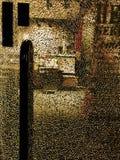 Vista astratta nel deposito attraverso vetro rotto immagine stock libera da diritti