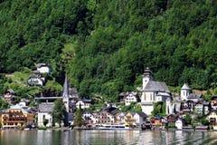 Vista atrativa das casas e da construção em Hallstatt Fotografia de Stock