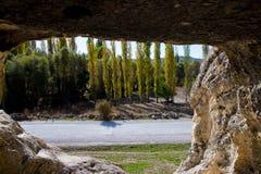 Vista através da janela da caverna no vale de Phrygian Foto de Stock Royalty Free