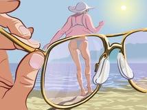 Vista através dos óculos de sol cor-de-rosa Fotografia de Stock