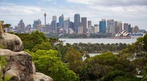 Vista attraverso all'orizzonte di Sydney Central Business District dallo zoo di Taronga a Sydney, Australia fotografia stock