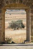 Vista attraverso la porta delle rovine gotiche della chiesa di mamme del san al villaggio abbandonato di Ayios Sozomenos, Cipro Fotografie Stock Libere da Diritti