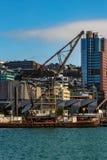 Vista attraverso lungomare di Wellington alla città fotografia stock libera da diritti