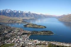 Vista attraverso Queenstown Nuova Zelanda Immagini Stock Libere da Diritti