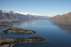 Vista attraverso Queenstown Nuova Zelanda Immagine Stock Libera da Diritti