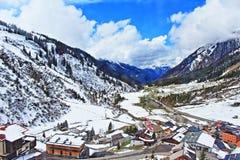 Vista Austria della valle delle montagne delle alpi Immagini Stock Libere da Diritti