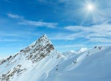 Vista Austria di inverno delle alpi di Dolomiten Fotografie Stock Libere da Diritti