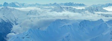 Vista Austria di inverno delle alpi di Dolomiten Fotografia Stock Libera da Diritti