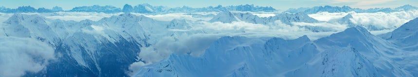 Vista Austria di inverno delle alpi di Dolomiten Panorama Fotografia Stock Libera da Diritti