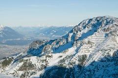 Vista austriaca delle alpi di inverno Fotografie Stock Libere da Diritti