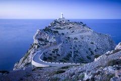 Vista azulada del faro en Cap De Formentor Imagen de archivo