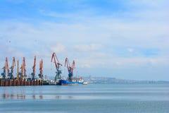Vista a Baku Seaport Fotografie Stock