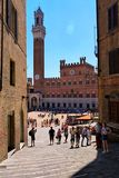 Vista of the bell tower and Piazza del Campo royalty free stock photo