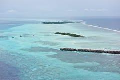 Vista Bird's-eye de los centros turísticos de maldives Fotos de archivo