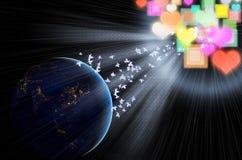 Vista blu astratta magica dello spazio della terra Fotografia Stock