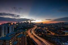 Vista blu di ora della città di Kuala Lumpur. Fotografie Stock Libere da Diritti
