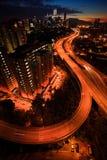 Vista blu di ora della città di Kuala Lumpur. Fotografia Stock