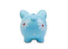 Vista blu divertente del porcellino salvadanaio da dietro Fotografia Stock