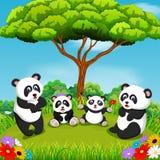 A vista bonita com alguma panda que joga junto sob a árvore ilustração royalty free
