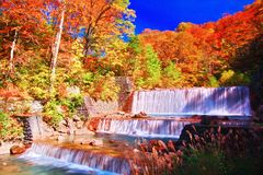 A vista bonita da cachoeira em Nyuto onsen recursos da mola quente fotografia de stock
