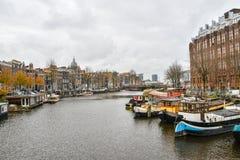 Vista bonita da cidade de Amsterdão, Países Baixos Fotografia de Stock