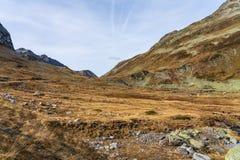Vista bonita da passagem de Fluela perto de Davos - Grisons, Su??a fotos de stock royalty free