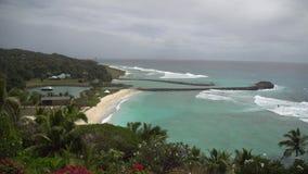 Vista bonita da praia com ondas 4 video estoque