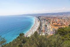 Vista bonita da praia na cidade de agradável, França Foto de Stock