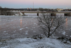 Vista bonita das alturas da cidade de Vyborg no por do sol Fotos de Stock