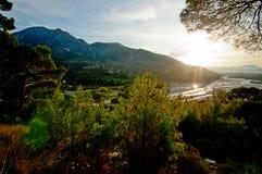 Vista bonita das montanhas floresta e rio fotografia de stock