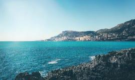 Vista bonita de Mônaco no dia de verão ensolarado fotografia de stock