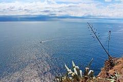 Vista bonita do mar Mediterrâneo, Tossa de Mar, Espanha Fotografia de Stock