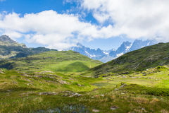 Vista bonita do Monte Branco nos cumes franceses Imagens de Stock Royalty Free