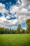 Vista bonita do parque com prado Fotografia de Stock Royalty Free