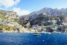 Vista bonita em Positano do mar fotos de stock royalty free