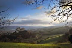 Vista cénico do castelo de Torrechiara Foto de Stock
