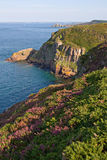 Vista cénico dos penhascos na costa de brittany foto de stock
