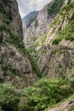 Vista cênico da garganta do rio de Moraca, Montenegro fotografia de stock royalty free