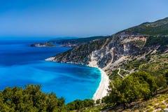 Vista cênico da praia de Myrtos, Kefalonia Foto de Stock
