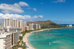 Vista cênico da praia de Waikiki Fotografia de Stock