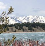 Vista cênico das montanhas, das árvores, e do lago no parque nacional imagens de stock royalty free
