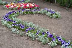 Vista cênico de canteiros de flores coloridos no parque do verão Imagem de Stock