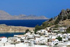 Vista cênico de Lindos, Rhodes Island (Grécia) foto de stock royalty free